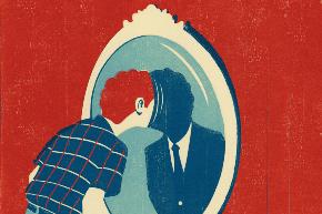 Un chico con la cabeza metida en un espejo